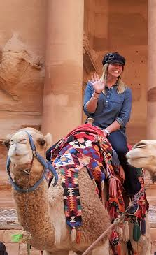 Ms. Coffing takes advantage of some local transportation while in Jordan.