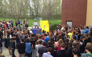 Hundreds of students gathered outside on the chilly last Friday for seniors to watch classmates dunk teachers, principals, and even the superintendent.