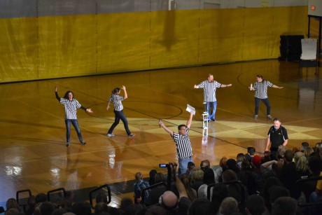 The Refs - aka Mr. Spotts, Ms. Kotowski, Ms. Goorhouse, Mr. Everly, and Ms. Ayres get the crowd fired up early in the show.