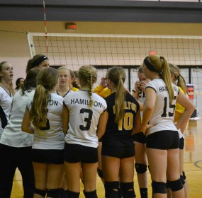 The freshmen volleyball team gather before the match against Holland.